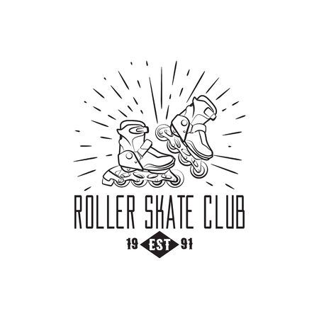 roller skates: Roller skates label, badge and design element isolated on white background.