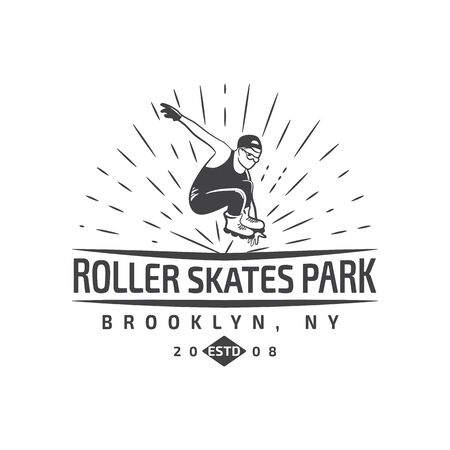 roller blade: of roller skating label, badge and design elements isolated on a white backgrounf with a man