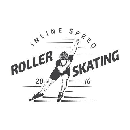 roller: roller skating label, badge and design elements isolated on a white backgrounf Illustration