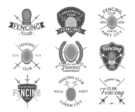 icônes d'escrime définies. Escrime emblèmes des éléments de conception. insignes d'escrime du club. Vecteurs