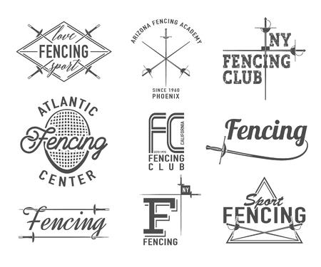 フェンシングのアイコンを設定します。フェンシングのエンブレムのデザイン要素。フェンシング クラブのバッジ。