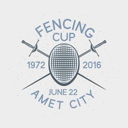 pentathlon: Fencing cup competition sport badge badge, label or poster