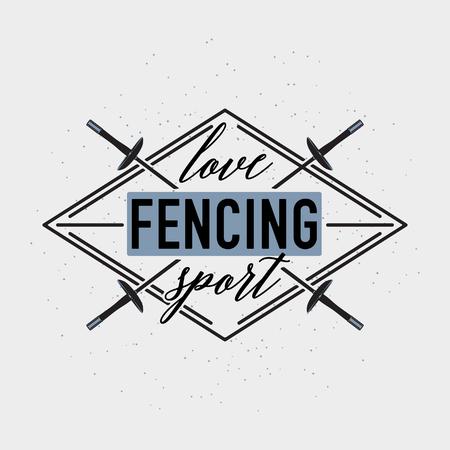 Love fencing sport badge badge, label or poster