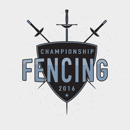 pentathlon: Fencing championship badge, label, icon for your design