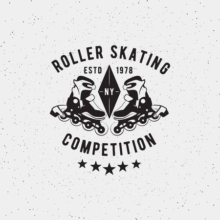 roller: Retro Vintage roller skating competition. Vector design element