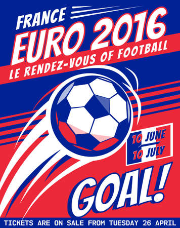 banni�re football: Affiche de football avec le ballon. EURO 2016 France. brochure de Vector pour l'euro 2016. Football banni�re, tournoi de football. Championnat, Ligue