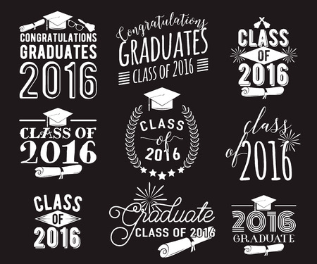 Graduation wishes monochrome overlays, lettering labels design set. Retro graduate class of 2016 badges. Hand drawn emblem with sunburst, hat, diploma, bell. Isolated. Sign or logo