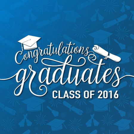 Vector illustration on blue seamless graduations background congratulations graduates 2016 class of, white design sign for the graduation party. Typography greeting, invitation card with diplomas, hat and lettering. Ilustrace