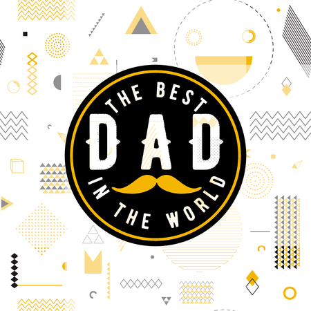 wishes: Happy fathers day wishes design vector background on seamless pattern. Fashion father line greeting. Father poster for print or web design. Modern holiday wishes. Hipster gold style