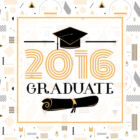 graduation party: Vector illustration on seamless background congratulations on graduation 2016 class of, hipster geometry design for the graduation party. Card graduates
