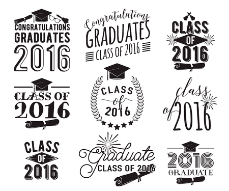 Graduation wishes monochrome overlays, lettering labels design set. Retro graduate class of 2016 badges. Ilustrace