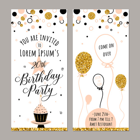 adult birthday party: Vector illustration of birthday. Happy Birthday vector card. Face and back sides. Birthday party background with cupcake, ballon and gold sparkles. Birthday poster, vertical banner