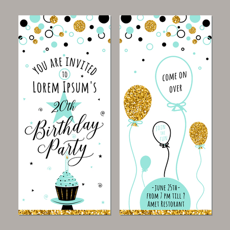 illustration of birthday invitation. Happy Birthday card. Face and back sides. Birthday party background with cupcake, ballon and gold sparkles. Birthday poster, vertical banner Vettoriali