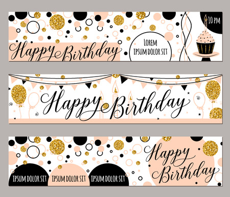adult birthday party: illustration of happy birthday cards. Fashion background with cupcake, balloon, gold sparkles. Golden elements poster. Horizontal banner Illustration