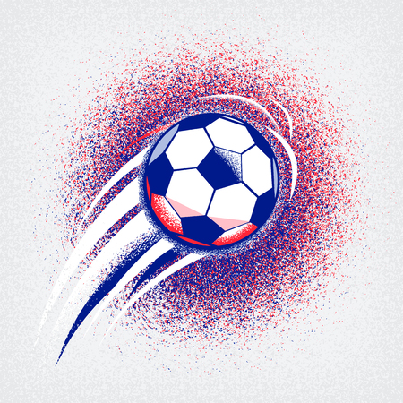 Euro 2016 France football championship with ball, sign and france flag colors. Coarseness texture Illustration
