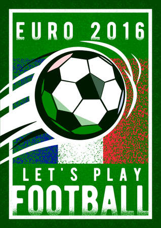 championship: Euro 2016 France football championship with ball and france flag colors. Coarseness texture