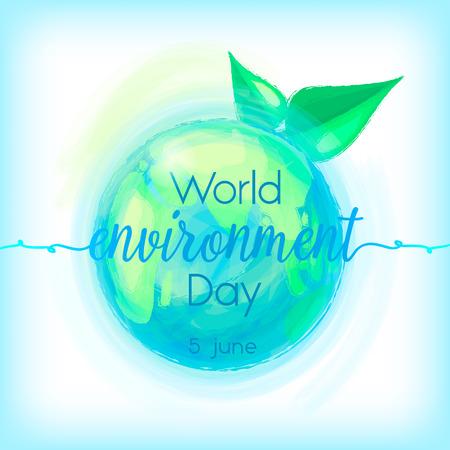 Illustratie van moeder aarde wereldbol en groene bladeren, achtergrond voor World Environment Day.