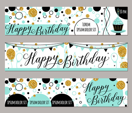 Vector illustration of happy birthday cards. Fashion background with cupcake, balloon, gold sparkles. Golden elements poster. Horizontal banner