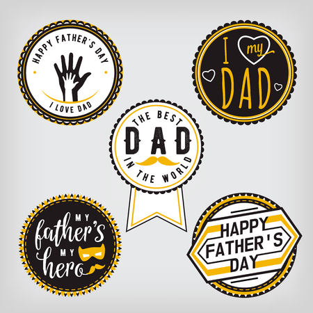 progenitor: Happy Fathers Day Design gold Collection. Stickers set on light background. Print emblem, badge