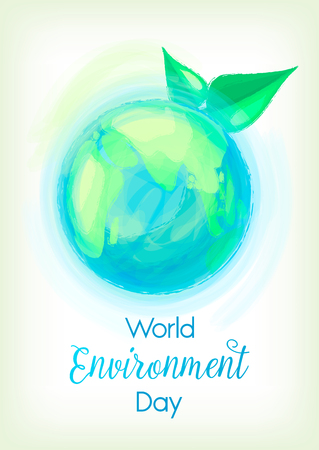 cartoon earth: Illustration of mother earth globe and green leaves, background for World Environment Day.