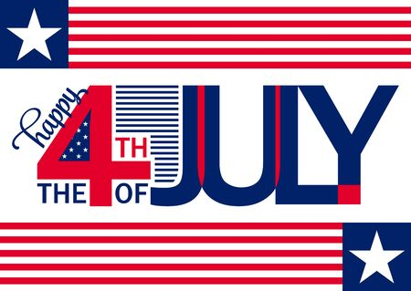Happy Independence Day horizontal backgron - July 4th - Fourth of July - Memorial Day - Flag Day - Patriotic Illustration