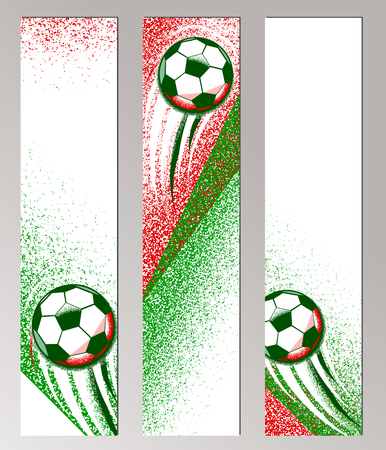 ball field: Football championship vertical banner with ball, field and italian flag colors. Roughness texture. Soccer poster, card Illustration