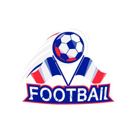 bannière football: Affiche de football avec le ballon, le drapeau et la typographie. 2016 Championnat de France. brochure de vecteur pour la concurrence. bannière football, tournoi de football.