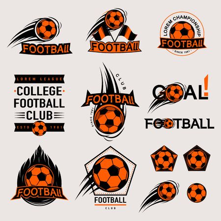 Set of color vintage, modern and retro badges and labels football game, club, sign Goal, soccer ball. Sport typography text, icons and old emblems. Vector illustration easy changed Vettoriali