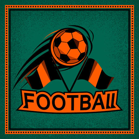 athletic type: Color vintage and retro badge, label football game with flying soccer ball. Sport typography text sign, icon, old emblem. Vector illustration easy changed. Use for print or web
