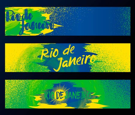 flag template: Rio de Janeiro horizontal banners, poster template set isolated on black background