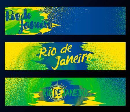 brazilian: Rio de Janeiro horizontal banners, poster template set isolated on black background