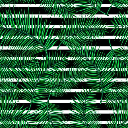 straight line: Retro vector illustration of exotic tropical seamless pattern with cartoon bright palm leaves, geometric straight line isolated on white background. Trendy plant endless backdrop. Use for print web