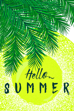 felicitation: Retro vector illustration of summertime felicitation vertical poster with palm leaves, sun, sunshine, grunge distressed effect. Vintage lettering quote Hello summer. Use for print web Illustration
