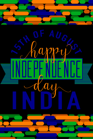 felicitation: Vertical creative vector illustration of felicitation India independence day 15 august with lettering, typography elements, ribbon, indian flag color on line background in flat style. For print, web