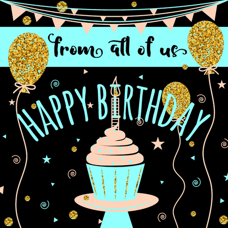 felicitation: Happy Birthday vector greeting card. Felicitation background with golden balloons and cupcake on black. Fashion template for birth date banner, flyer, brochure, gift certificate, party invitation. Illustration
