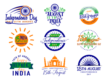 felicitation: Vector illustration of India independence day. Felicitation 15th august. Greeting template for web or print emblem, badge, label, style design. Indian flag color element isolated on white