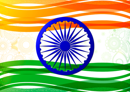 Vector illustration of Indian flag theme background for India Republic and Independence day with light wheel, ribbon, floral element isolated on white, clipping under mask. Print, web design.