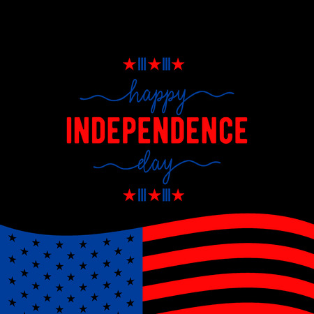 hallmark: Fourth of July background. Felicitation classic postcard. USA Happy Independence day greeting card. Vector illustration with flag, stars, lettering for congratulation american isolated on black.