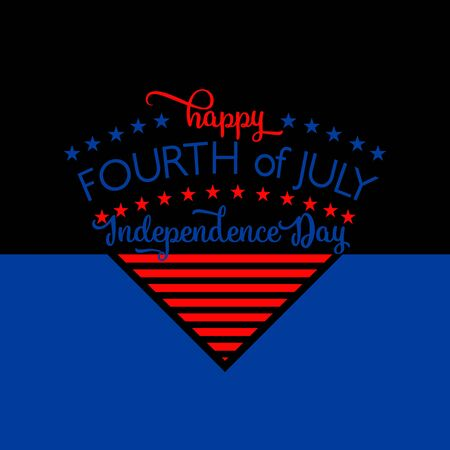 fourth birthday: 4th of july background. Fourth of July felicitation triangle element postcard. USA Happy Independence day greeting card. Vector illustration with flag color, star, lettering for congratulation America on black