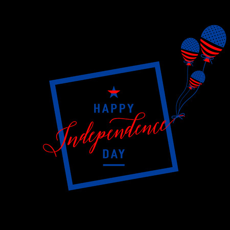 felicitation: Fourth of July background. Felicitation cool fun postcard. USA Happy Independence day greeting card. Vector illustration with flag, balloon, star for congratulation american people isolated on black. Illustration