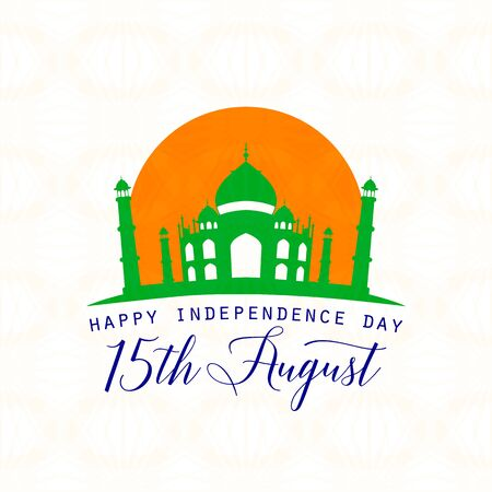 felicitation: Vector illustration of India Independence Day 15th August. Creative style felicitation card for indian people with sign, Taj Mahal on seamless wheel background. Print web application.Typography greeting poster. Illustration