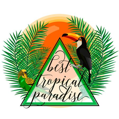 birds of paradise: Vector illustration of tropical paradise card with palm leaves, birds, parrot, toucan, sun, summer lettering sign in triangle. Creative color background isolated on light for web or print design.