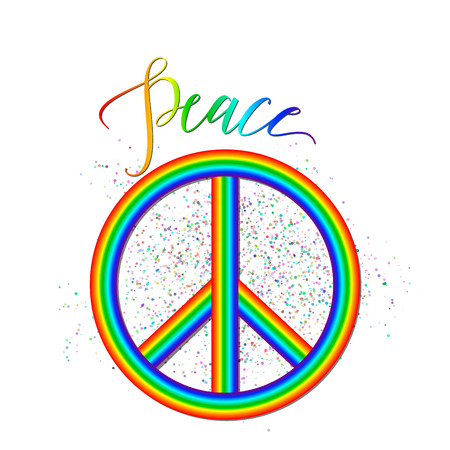 Vector illustration of rainbow peace with grunge effect, lettering sign isolated on white. Creative hipster background about accord, reconciliation, unity, amity for web or print design.