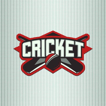 Vector illustration of cricket sport with typography sign, ball, bat for team, competition, championship isolated on light background.