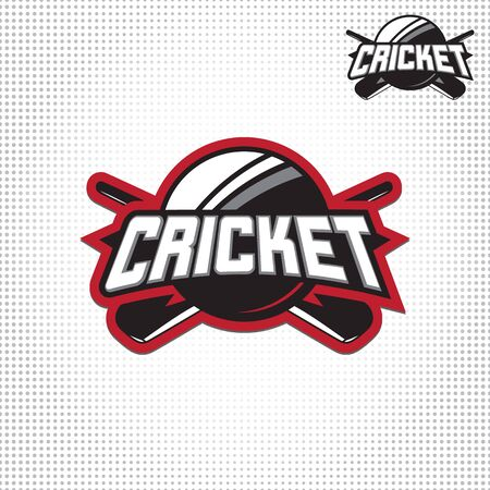 winning pitch: Vector illustration of cricket sport with typography sign, ball, bat for team, competition, championship isolated on light background.
