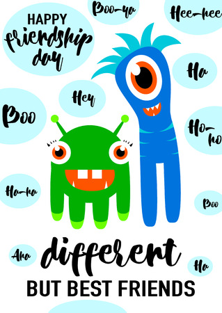 felicitation: Vector illustration of cool modern happy friendship day felicitation in fashion simple style with lettering quote text sign, cute smiling monsters, exclamatory words isolated on black background. Different but best friends. Illustration