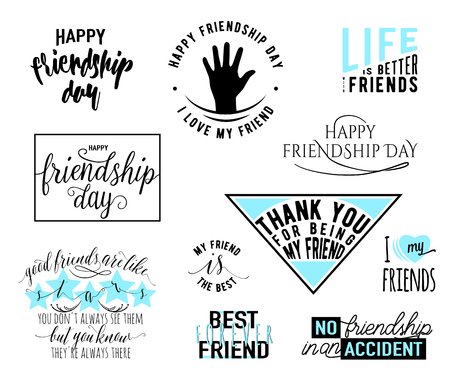 felicitation: Vector illustration of Happy Friendship day vector typography design. Inspirational motto quotes about friendship. Used as greeting cards, felicitation posters, print clothing, t-shirt for your friends. Illustration