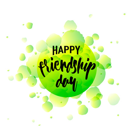 felicitation: Vector illustration of Happy Friendship day typography design isolated on white background with rough dots. Used as greeting cards, felicitation posters, congratulation print, t-shirt for your friends.