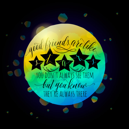 felicitation: Vector illustration of Happy Friendship day typography fashion design on black background with rough color dots, stars, lettering. Inspirational quote about friend. Used as greeting cards, felicitation posters.