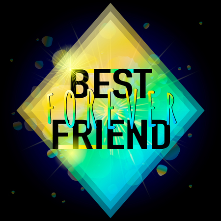 felicitation: Vector illustration of Happy Friendship day typography fashion design on black background with rough color dots. Inspirational quote about best friend forever. Used as greeting cards, felicitation posters.